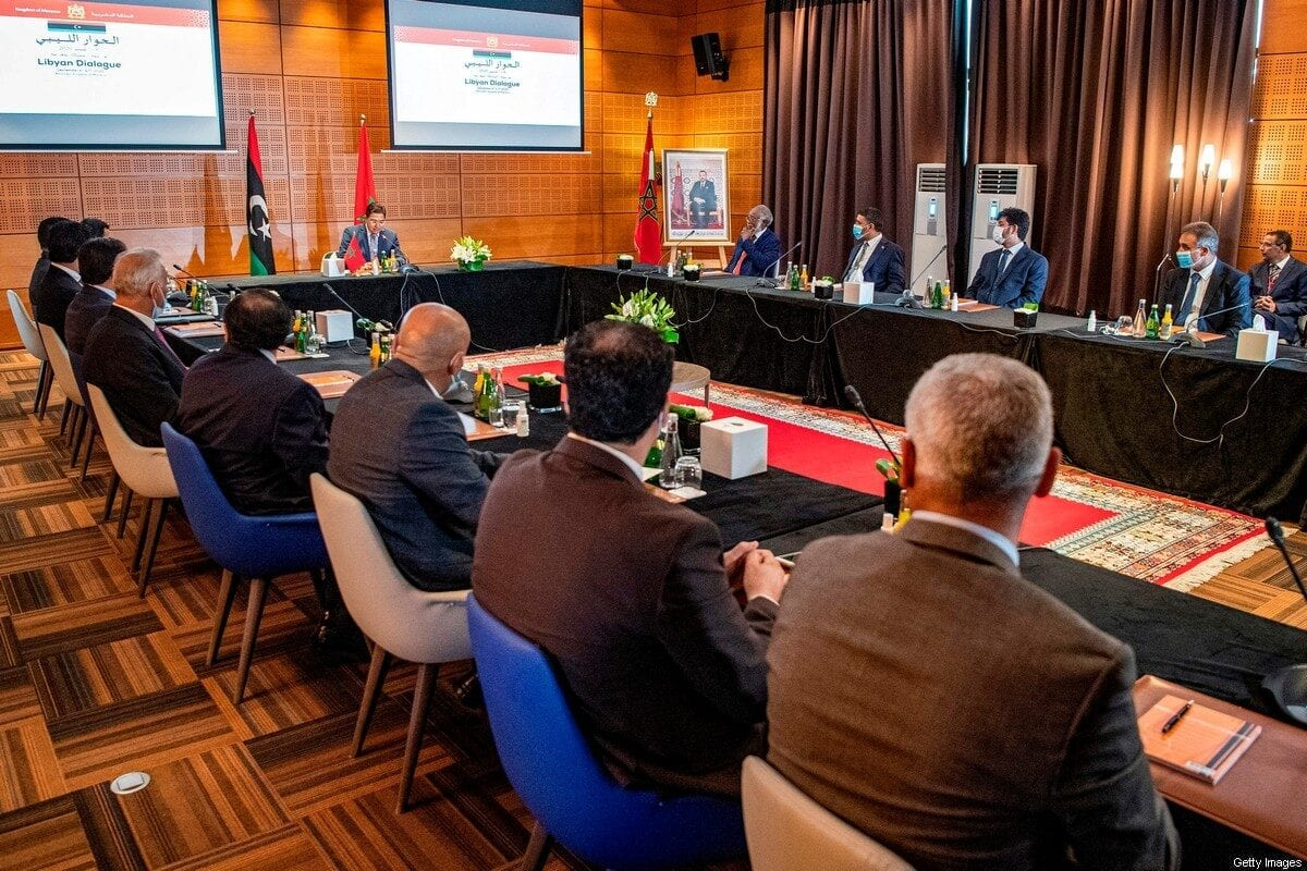 Nasser Bourita, Morocco's Minister of Foreign Affairs and International Cooperation, chairs a meeting of representatives of Libya's rival administrations in the coastal town of Bouznika, south of Rabat, on September 6, 2020 [FADEL SENNA/AFP via Getty Images]