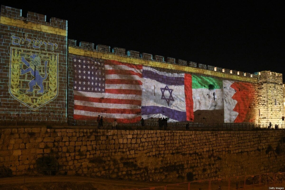 The flags of US, Israel, United Arab Emirates, and Bahrain are projected on the ramparts of Jerusalem's Old City on September 15, 2020 in a show of support for Israeli normalisation deals with the United Arab Emirates and Bahrain. - The decision by the UAE and Bahrain to normalise ties with Israel breaks with decades of consensus within the Arab world that a peace deal with the Palestinians is a prerequisite for establishing relations with the Jewish state. (Photo by menahem kahana / AFP) (Photo by MENAHEM KAHANA/AFP via Getty Images)