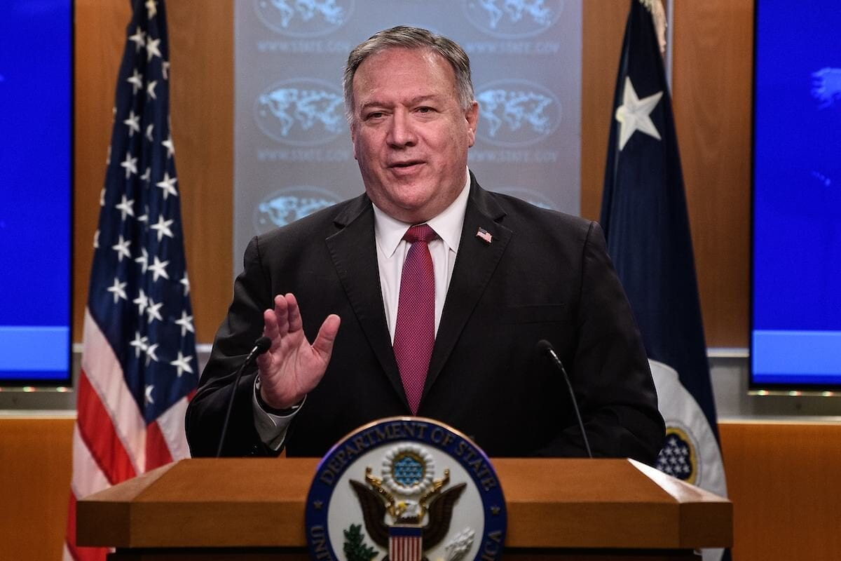 US Secretary of State Mike Pompeo speaks at a press conference at the State Department in Washington, DC, on 21 October 2020. [NICHOLAS KAMM/POOL/AFP via Getty Images]