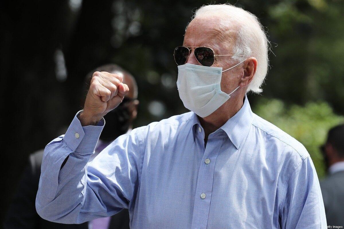 Democratic US presidential nominee Joe Biden in Lancaster, Pennsylvania on 7 September 2020 [Chip Somodevilla/Getty Images]