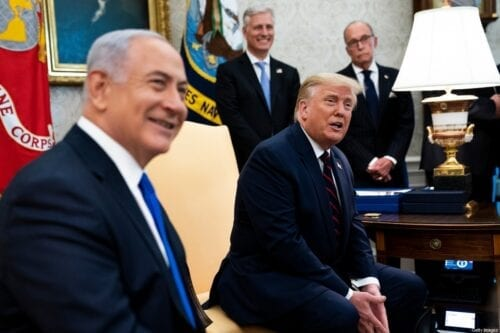 WASHINGTON, DC - SEPTEMBER 15: U.S. President Donald Trump and Prime Minister of Israel Benjamin Netanyahu participate in a meeting in the Oval Office of the White House on September 15, 2020 in Washington, DC. Netanyahu is in Washington to participate in the signing ceremony of the Abraham Accords. (Photo by Doug Mills/Pool/Getty Images)