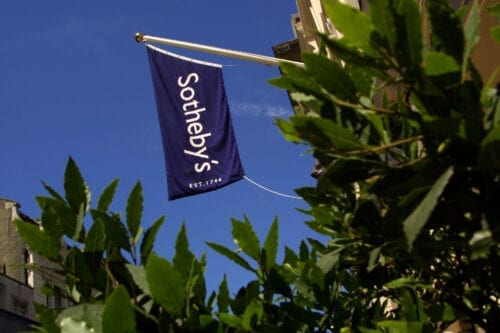 391870 07: A Sotheby''s banner is displayed over the entrance of the auction house July 13, 2001 on New Bond street in London, England. (Photo by Sion Touhig/Getty Images)