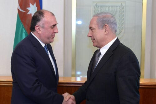 Israeli Prime Minister Benjamin Netanyahu meets with former Azerbaijan Foreign Minister Elmar Mammadyarov on 23 April 2013 in Jerusalem, Israel. [Amos Ben Gershom GPO via Getty Images]