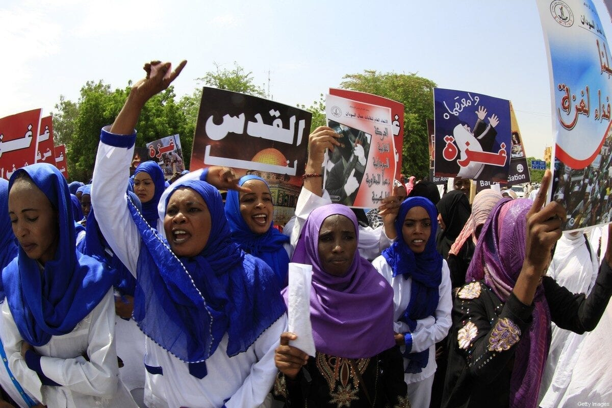 Sudanese protestors shout slogans during a rally to denounce Israel's military offensive on the Gaza Strip, on August 11, 2014 in Khartoum [ASHRAF SHAZLY/AFP via Getty Images]