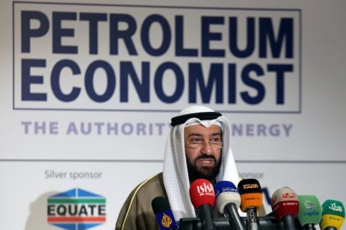 Former Kuwaiti oil minister and minister of state for national assembly affairs, Ali al-Omair speaks during the opening of a forum to discuss emerging trends in hydrocarbon production and use in the region in Kuwait City on 21 January 2015. [YASSER AL-ZAYYAT/AFP via Getty Images]