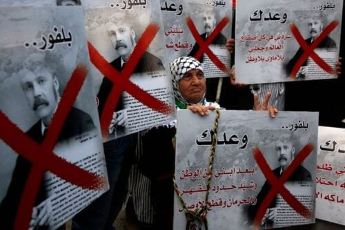 Palestinians during a demonstration on the 100th anniversary of Britain's Balfour Declaration in West Bank city of Nablus on 2 November 2017 [JAAFAR ASHTIYEH/AFP/Getty Images]