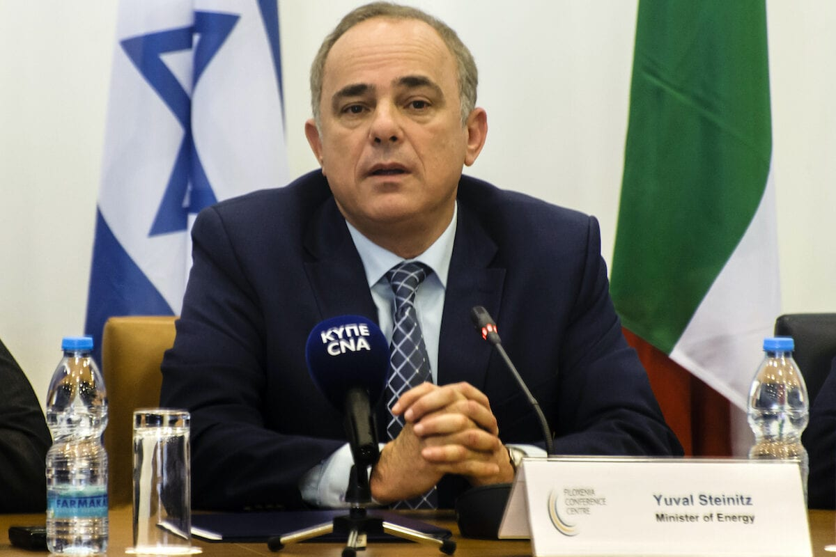 Israeli Energy Minister Yuval Steinitz on 5 December 2017, in the Cypriot capital Nicosia. [IAKOVOS HATZISTAVROU/AFP via Getty Images]