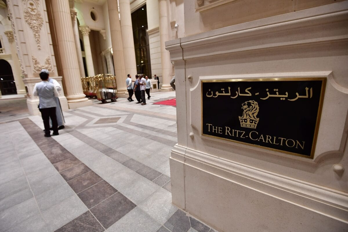 A picture taken on April 13, 2018 shows the main entrance of the Ritz Carlton hotel in the Saudi capital Riyadh. (Photo by GIUSEPPE CACACE / AFP) (Photo credit should read GIUSEPPE CACACE/AFP via Getty Images)