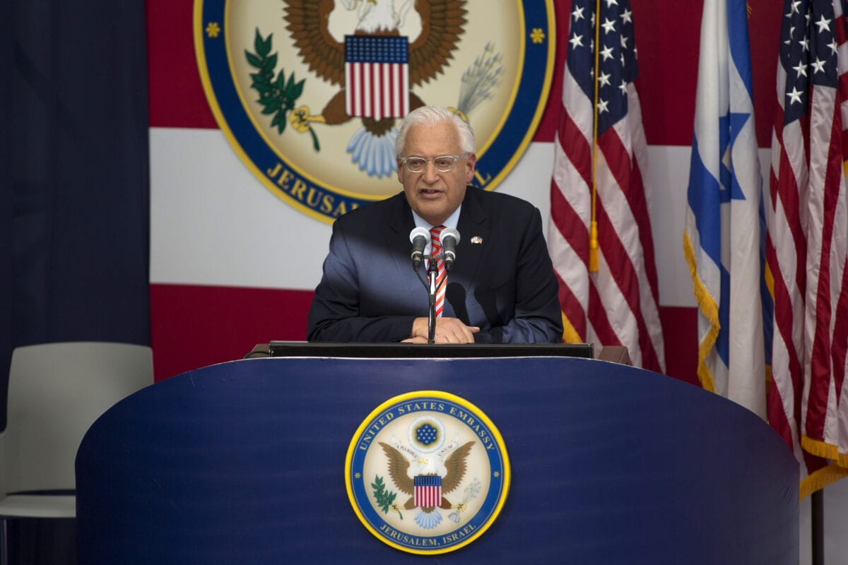 US ambassador to Israel David Friedman speaks on stage on during the opening of the US embassy in Jerusalem on May 14, 2018 in Jerusalem, Israel [Lior Mizrahi/Getty Images]