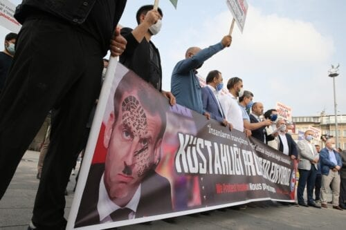 Protest against President of France Emmanuel Macron over his anti-Islam remarks in Istanbul, Turkey on 27 October 2020 [Yasin Aras/Anadolu Agency]