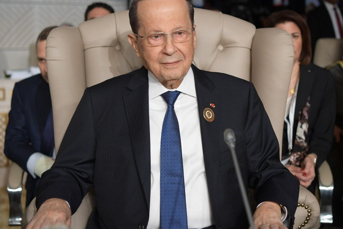 Lebanese President Michel Aoun in Tunis, Tunisia on 31 March 2019 [FETHI BELAID/AFP/Getty Images]