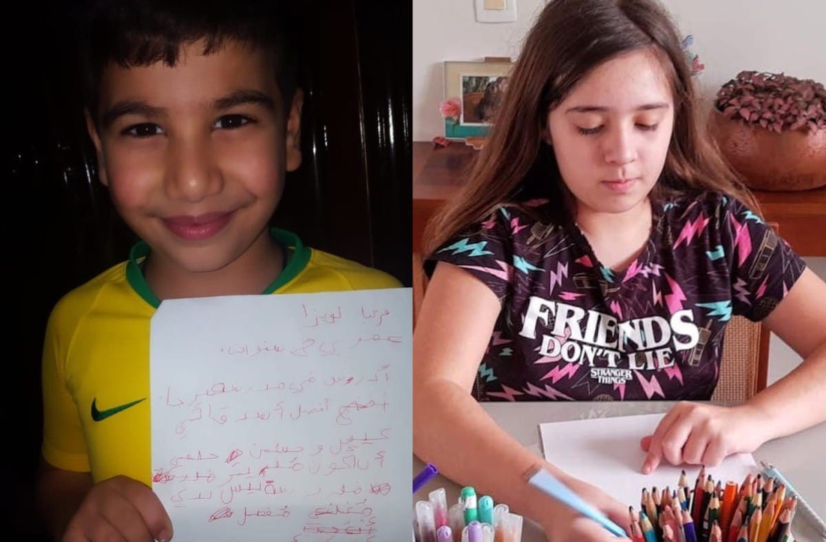 Mousa, 8 years old and from Lebanon, sent his letter to Louisa, a 10-year-old Brazilian girl, telling her about his dream to be a school principal, September 2020 [Angela Bastos]