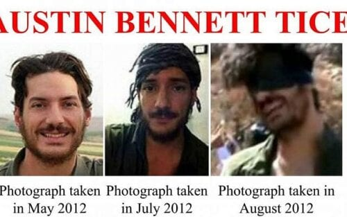 Screen shot of an FBI poster about Austin Bennett Tice, a photojournalist from Texas who disappeared in Syria in August 2012 [Twitter]