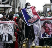 People stage a protest against comments by President of France Emmanuel Macron defending caricatures of the Prophet Muhammad in France and the's anti-Islam remarks in front of the French Embassy in Jakarta, Indonesia on November 2, 2020 [Anton Raharjo - Anadolu Agency]