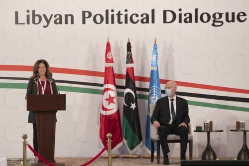 Tunisian President Kais Saied (R) and UN Deputy Special Representative for Political Affairs in Libya, Stephanie Williams make an opening speech during Libyan Political Dialogue Forum in Tunis, Tunisia on 9 November 2020. [Yassine Gaidi - Anadolu Agency]