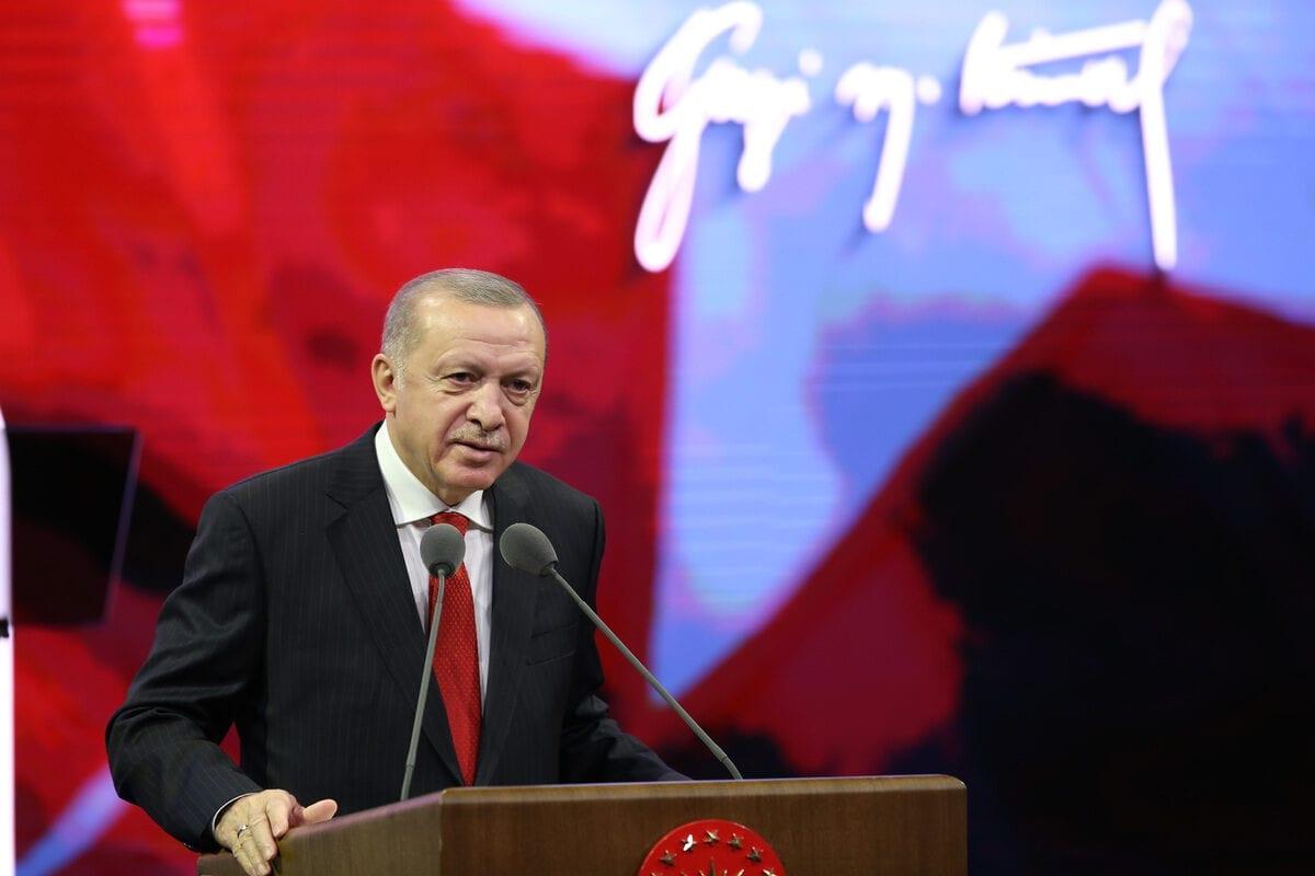 Turkish President Recep Tayyip Erdogan on November 10, 2020 [Mustafa Kamacı/Anadolu Agency]