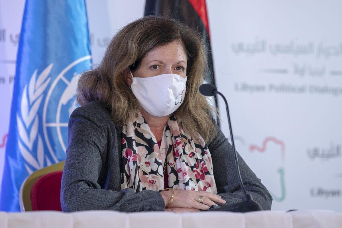 TUNIS, TUNISIA - NOVEMBER 12: UN Deputy Special Representative for Political Affairs in Libya, Stephanie Williams holds a press conference within the Libyan Political Dialogue Forum in Tunis, Tunisia on November 12, 2020. ( Yassine Gaidi - Anadolu Agency )