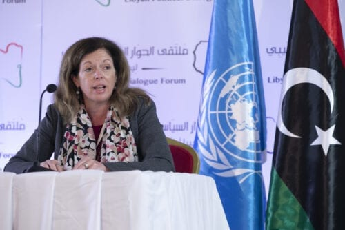 TUNIS, TUNISIA - NOVEMBER 12: UN Deputy Special Representative for Political Affairs in Libya, Stephanie Williams holds a press conference within the Libyan Political Dialogue Forum in Tunis, Tunisia on November 12, 2020. ( Yassine Gaidi - Anadolu Agency )