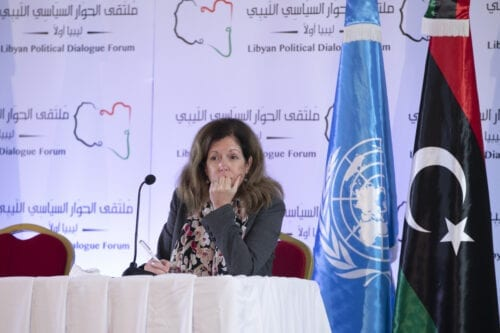 UN Deputy Special Representative for Political Affairs in Libya, Stephanie Williams holds a press conference within the Libyan Political Dialogue Forum in Tunis, Tunisia on November 12, 2020 [Yassine Gaidi/Anadolu Agency]