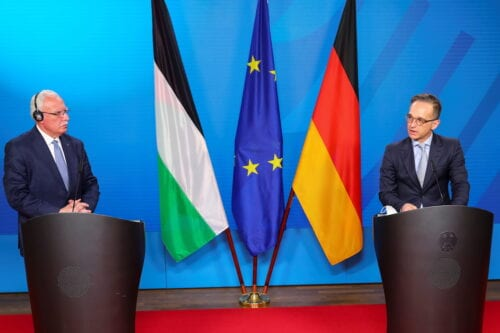 BERLIN, GERMANY - NOVEMBER 17: German Foreign Minister Heiko Maas and Palestinian Foreign Minister Riyad al-Maliki hold a press conference in Berlin, Germany November 17, 2020. ( REUTERS/Hannibal Hanschke/Pool - Anadolu Agency )