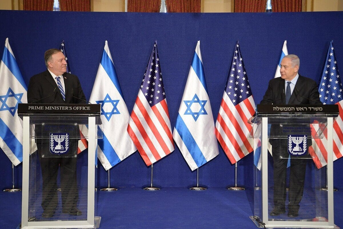 US Secretary of State Mike Pompeo (L) and Israeli Prime Minister Benjamin Netanyahu (R) hold a joint press conference at the Prime Ministry Office in West Jerusalem on November 19, 2020. [IL Prime Ministry - Anadolu Agency]