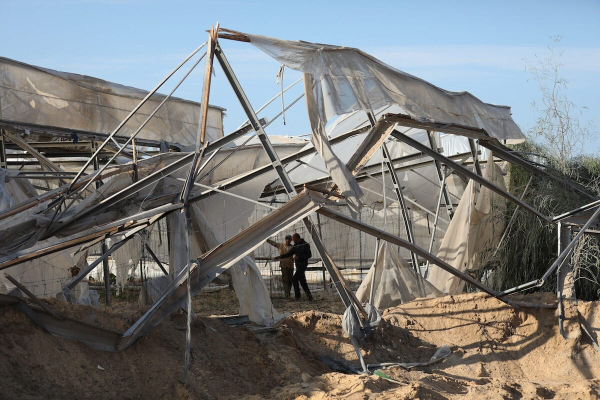 Palestinian farmers' agriculture fields and greenhouses are damaged after an airs trike by carried out by Israeli warplanes on 22 November 2020 in Gaza [Mustafa Hassona/Anadolu Agency]