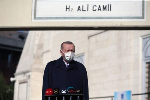 Turkish President Recep Tayyip Erdogan in Istanbul, Turkey on 27 November 2020 [Arif Hüdaverdi Yaman/Anadolu Agency]