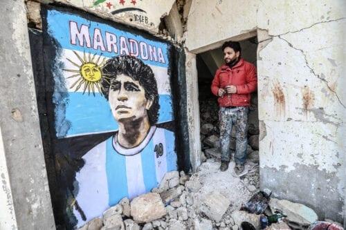 IDLIB, SYRIA - NOVEMBER 27: A graffiti artist Syrian Aziz Esmer draws a portrait of Diego Armando Maradona on the walls of a home destroyed after the attacks of Assad regime forces, in Idlib, Syria on November 27, 2020. ( İzzeddin idilbi - Anadolu Agency )