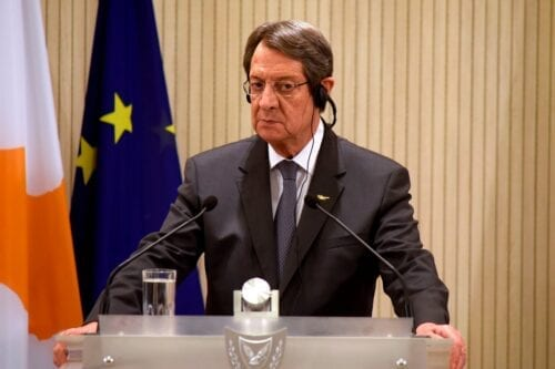 Cypriot President Nicos Anastasiades in Cyprus' capital Nicosia on 21 October 2020 [IAKOVOS HATZISTAVROU/POOL/AFP/Getty Images]