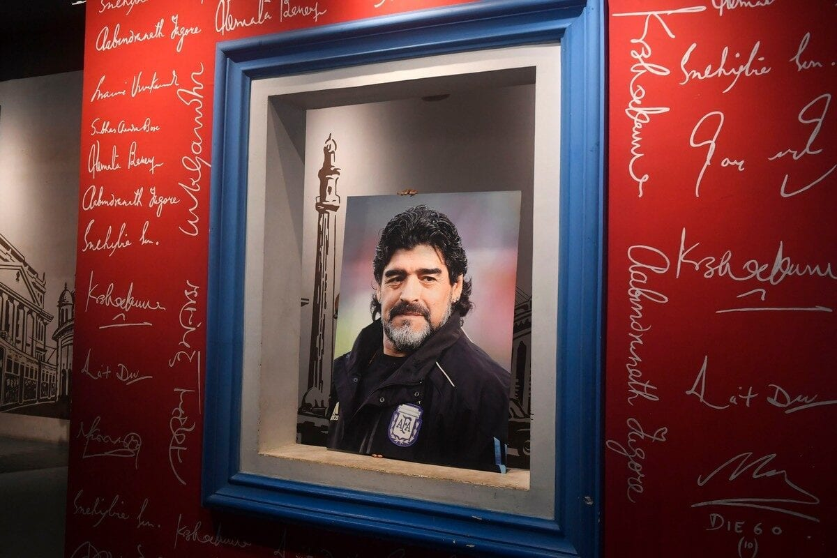 Argentinian football legend Diego Armando Maradona at the Mother's Wax Museum in Kolkata on 26 November 2020 [DIBYANGSHU SARKAR/AFP/Getty Images]