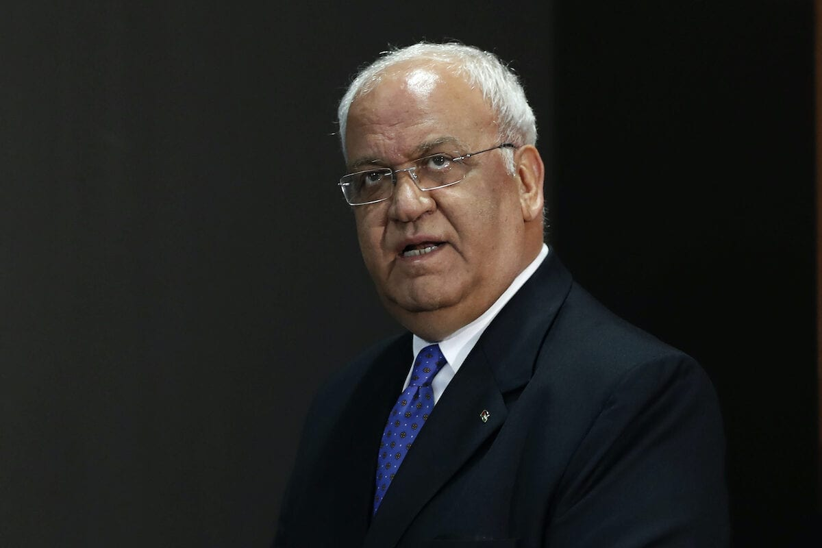 Palestine Liberation Organization's Secretary General Saeb Erekat is pictured after a press conference in the West Bank city of Ramallah on 11 September 2018. [AHMAD GHARABLI/AFP via Getty Images]