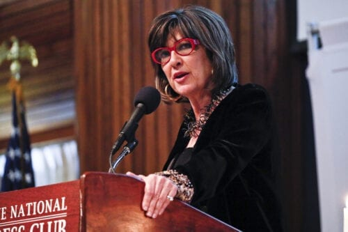 Journalist Christiane Amanpour, host of the television show 'Christiane Amanpour & Co.', gives the keynote address at the 2019 James W. Foley Awards at the National Press Club on April 02, 2019 in Washington, DC. [Paul Morigi/Getty Images]
