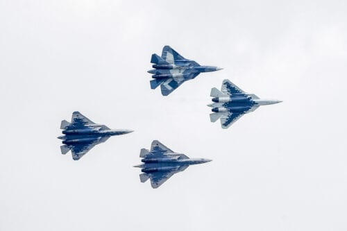 Sukhoi Su-57 fifth-generation fighter aircrafts perform during the MAKS 2019 International Aviation and Space Salon opening ceremony in Zhukovsky outside Moscow on August 27, 2019. (Photo by Alexander NEMENOV / AFP) (Photo credit should read ALEXANDER NEMENOV/AFP via Getty Images)