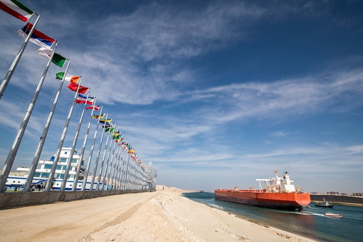 The Malaysia-flagged oil tanker Bunga Kasturi sailing through Egypt's Suez Canal in the canal's central hub city of Ismailia on the 150th anniversary of the canal's inauguration on November 17, 2019. [KHALED DESOUKI/AFP via Getty Images]