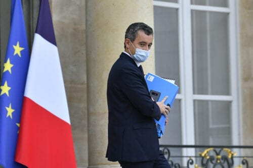 French Minister of Interior Gerald Darmanin leaves the Elysee Palace after the weekly cabinet meeting on October 28, 2020 in Paris, France [Aurelien Meunier/Getty Images]