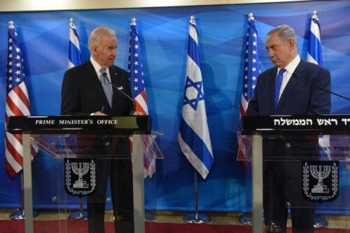 Former US-Vice President Joe Biden (L) and Israeli Prime Minister Benjamin Netanyahu give joint statements to press in the prime minister's office in Jerusalem on 9 March 2016 [DEBBIE HILL/AFP via Getty Images]