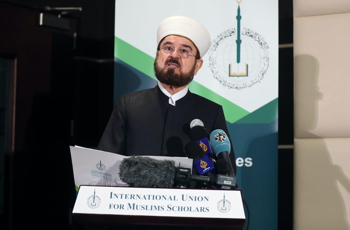 Ali Moheiddin al-Qaradaghi, Secretary-General of the International Union for Muslim Scholars (IUMS), speaks during a press conference in the Qatari capital Doha on 1 December 2017. [KARIM JAAFAR/AFP via Getty Images]