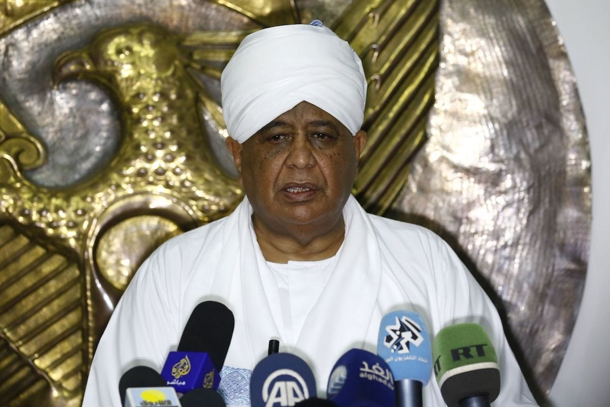 Sudanese Foreign Minister Ibrahim Ghandour speaks to the press following a meeting with his Qatari counterpart in Khartoum, on 10 March 2018. [ASHRAF SHAZLY/AFP via Getty Images]
