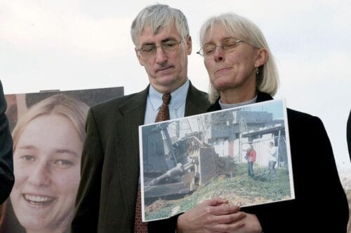 Craig and Cynthia Corrie at a press conference on Capitol Hill in Washington, DC as they talk about their daughter Rachel who was run over by an Israeli bulldozer during a demonstration in the Gaza Strip in 2003 on 19 March 2003 [STEPHEN JAFFE/AFP via Getty Images]
