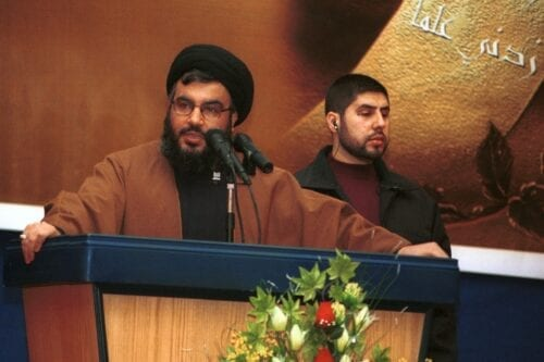Hezbollah leader Hassan Nasrallah in Beirut, Lebanon on 8 February 2002 [Courtney Kealy/Getty Images]