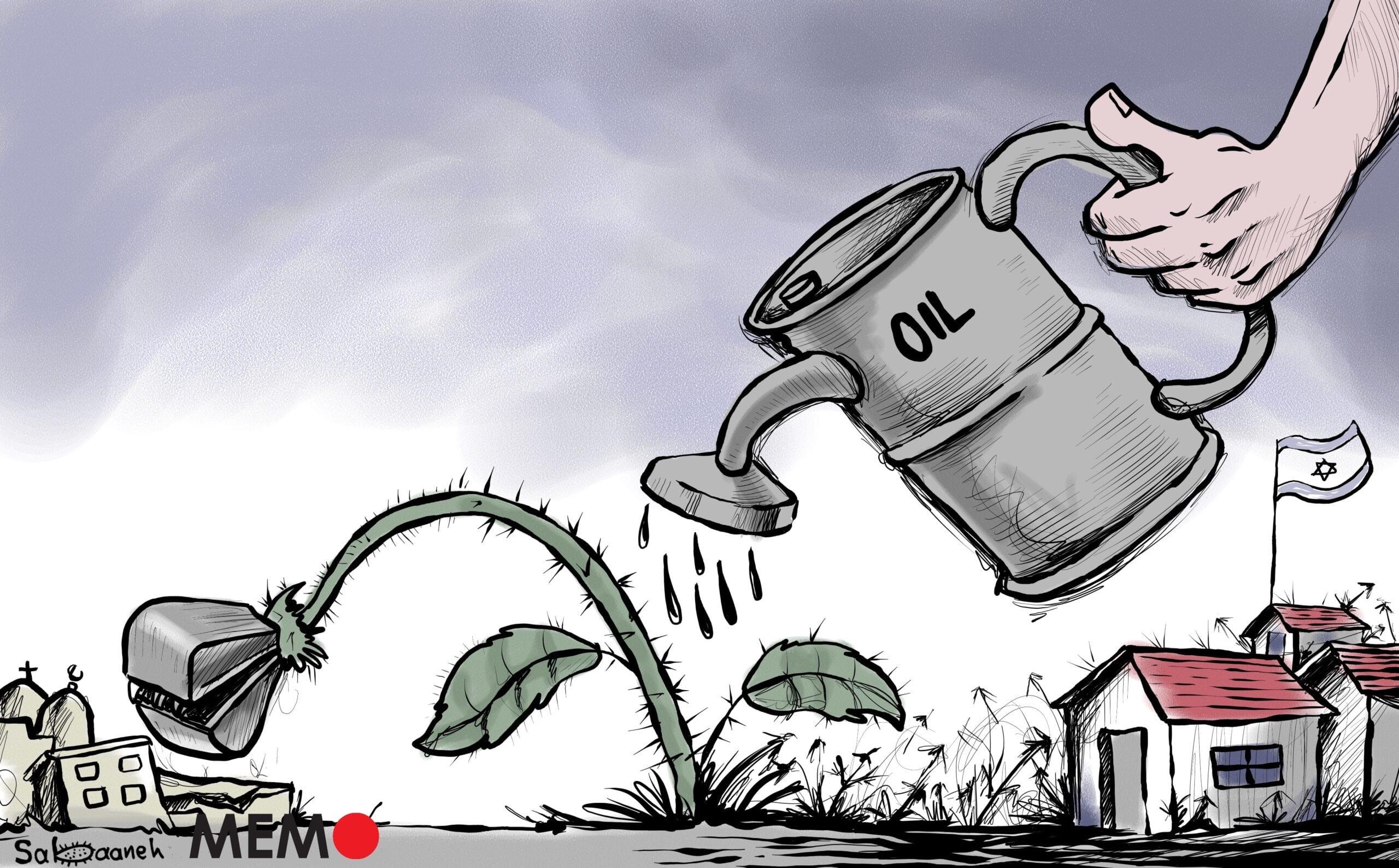 Is oil financing Israel's settlement expansion? - Cartoon [Sabaaneh/MiddleEastMonitor]