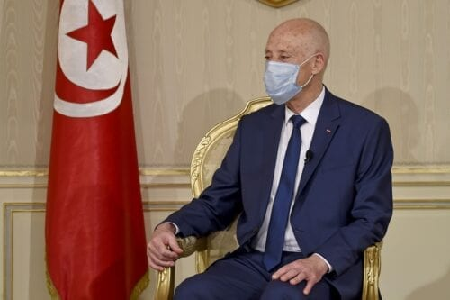 Tunisian President Kais Saied in Tunis, Tunisia on 12 October 2020 [FETHI BELAID/AFP/Getty Images]