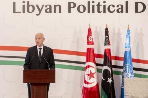 Tunisian President Kais Saied makes an opening speech during Libyan Political Dialogue Forum in Tunis, Tunisia on 9 November 2020 [Yassine Gaidi/Anadolu Agency]