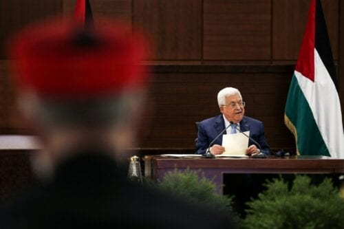 Palestinian president Mahmud Abbas in the West Bank on 3 September 2020 [ALAA BADARNEH/POOL/AFP/Getty Images]