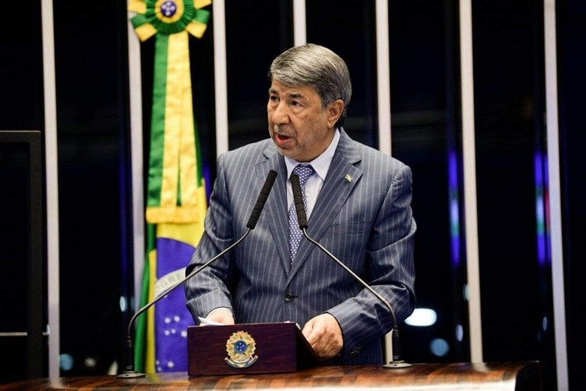The Palestinian Ambassador to Brazil Ibrahim Alzeben, speaks during a 40 years celebration of diplomatic relations between Brazil and Palestine in the Brazilian Senate, September 2019 [Pedro França/Senate Agency]
