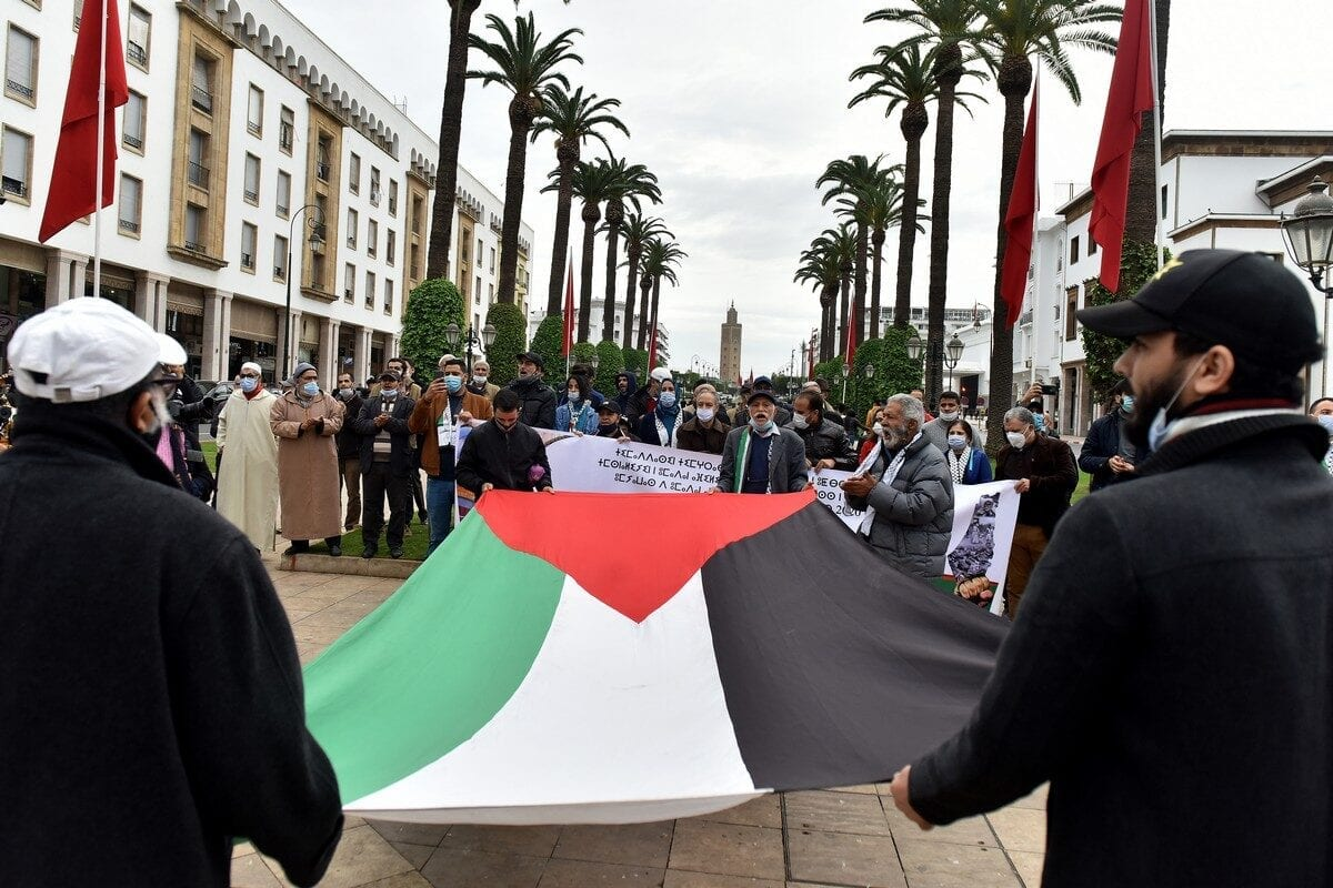 RABAT, MOROCCO - NOVEMBER 29: Moroccans protest the normalization deal with Israel to mark the International Day of Solidarity with the Palestinian People in Rabat, Morocco on November 29, 2020. ( Jalal Morchidi - Anadolu Agency )