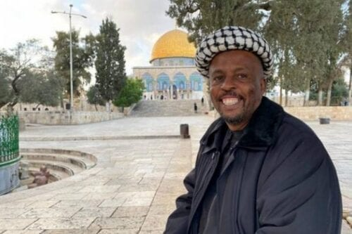 Shahid Bin Yusef Takala, a South African university lecturer, has walked from Cape Town to Jerusalem's Al-Aqsa Mosqu