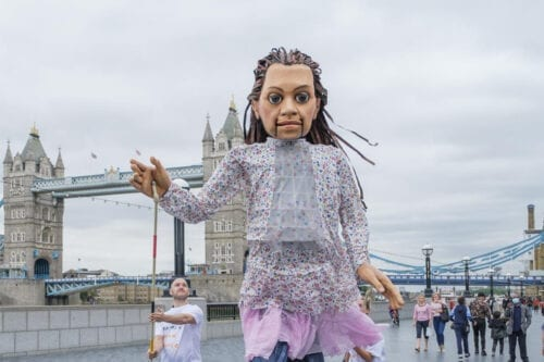 Little Amal, a tall puppet was made in effort to highlight the plight of child refugees