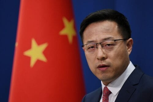 Chinese Foreign Ministry spokesman Zhao Lijian in Beijing on 8 April 2020 [GREG BAKER/AFP/Getty Images]