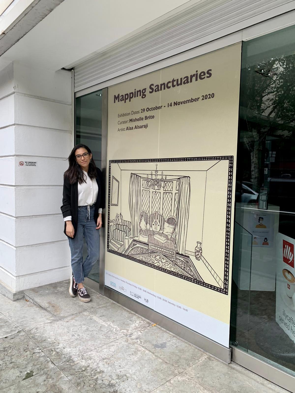 "London-based artist Alaa Alsaraji in Manchester Art Gallery at the exhibition ""Mapping Sanctuaries"" [Alaa Alsaraji]"